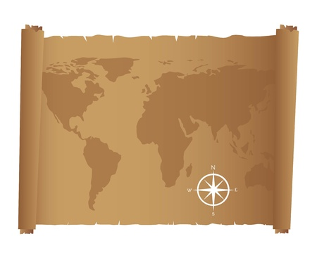world map over old paper with compass rose. Vector illustration Vector