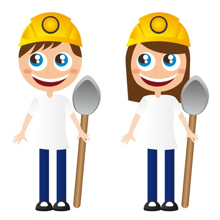 safety gear: men and women miners cartoons shovel and helmet. vector Illustration