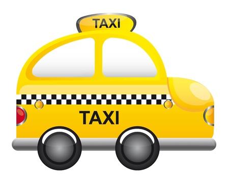 cartoon car: dibujo animado del taxi de color amarillo con la ilustraci�n vectorial TRANSPARENCIA