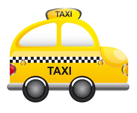 autom�vil caricatura: dibujo animado del taxi de color amarillo con la ilustraci�n vectorial TRANSPARENCIA