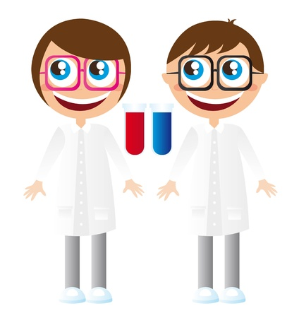 laboratorians with glasses cartoons with test tube vector