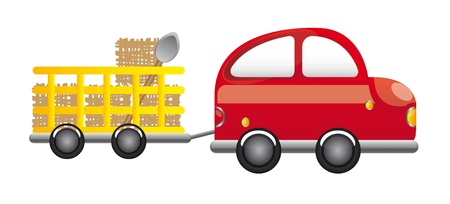 red farm truck with straw and shovel cartoon vector illustration Vector