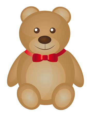 teddy bear cartoon: cute teddy bear cartoon with red bow vector illustration