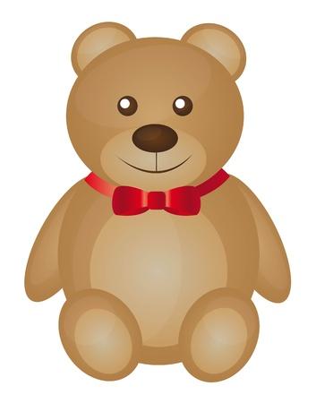 osos de peluche: oso de peluche lindo de la historieta con la ilustraci�n vectorial lazo rojo rojo
