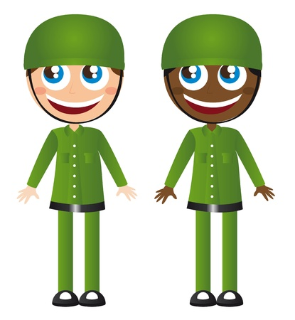 caucasian and african soldiers cartoons vector illustration Vector