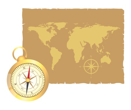 gold compass and old map over old paper vector illustration Illustration