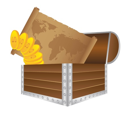 booty: wooden trunk with old map and gold coins vector. illustration Illustration