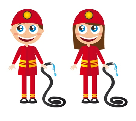 brigade: man and woman firefighters cartoons with fire hose vector