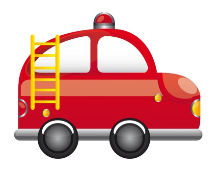 red fire truck with ladder cartoon vector illustration Vector