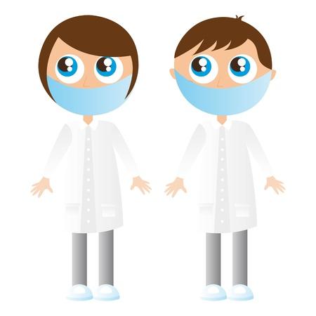 chirurg: M�dchen und Junge Krankenschwestern Karikaturen mit Masken Vektor-Illustration