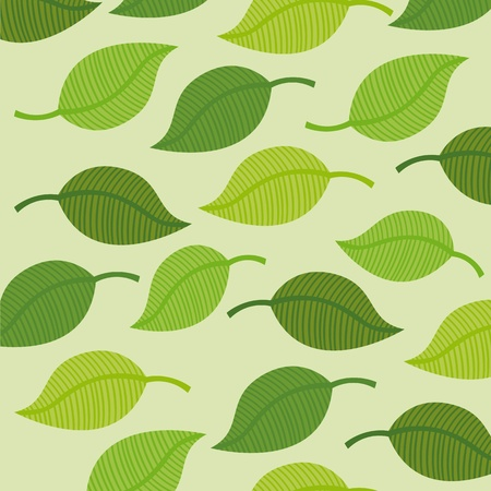 cute green leaves over green background. vector illustration Stock Vector - 11516583