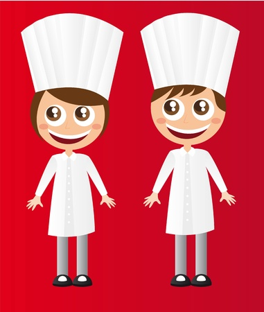 girl and boy chef with hat cartoons vector illustration Vector
