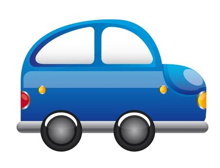 blaues Auto Cartoon-Vektor auf weißem Hintergrund. Abbildung Vektorgrafik