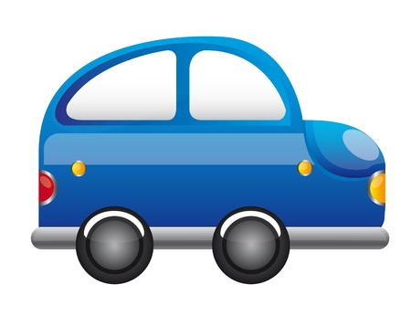 car side view: blue car cartoon vector over white background. illustration