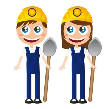arquitecto caricatura: ni�o y ni�a de constructores con la pala y el vector de casco de dibujos animados Vectores