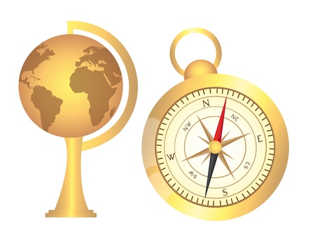 orientate: gold old  globe with gold compass over white background. vector