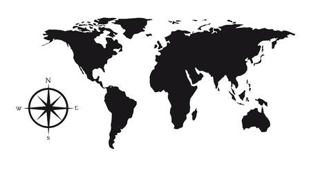 cartina del mondo: Mappa silhouette nera con rosa dei venti illustrazione vettoriale Vettoriali