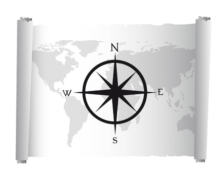 seafaring: black and white map over parchment with compass rose vector Illustration