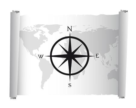 rosa dei venti: mappa in bianco e nero su pergamena con rosa dei venti vettoriale