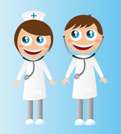 enfermero caricatura: mujer y los m�dicos hombres dibujos animados con el estetoscopio. vector