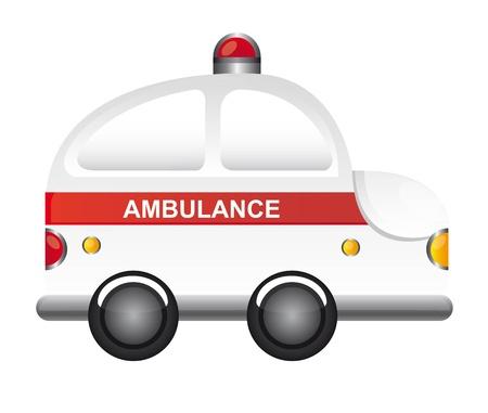 скорая помощь: белый мультфильм скорой помощи с красным светом векторные иллюстрации Иллюстрация