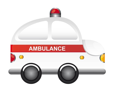 white ambulance cartoon with red light vector illustration Vector