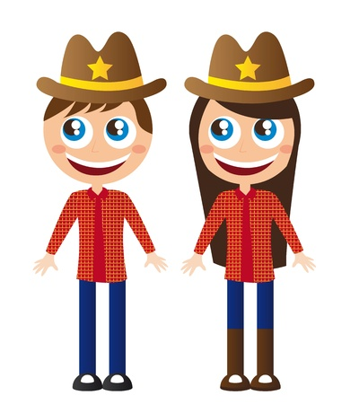 country girl: boy and gilr cowboy cartoons with hat vector illustration Illustration