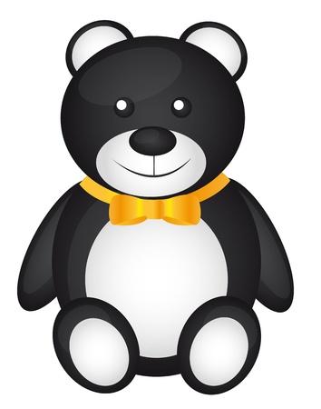 black teddy bear with yellow bow vector illustration Vector