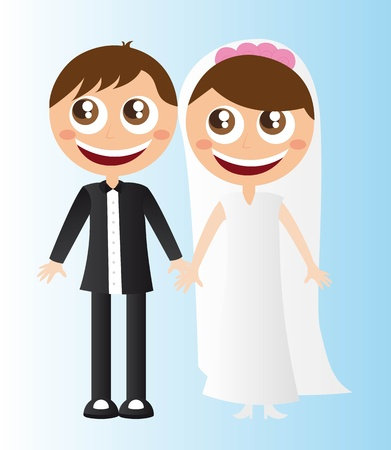 man and woman just married cartoons vector illustration Vector