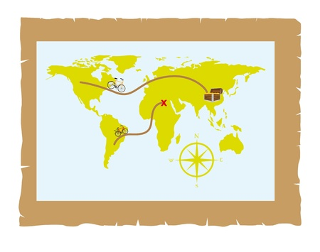old map over parchment with trunk and bike vector illustration