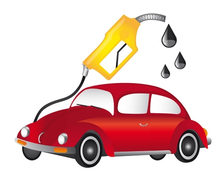 light duty: red car and yellow fuel pump over whitte background. vector