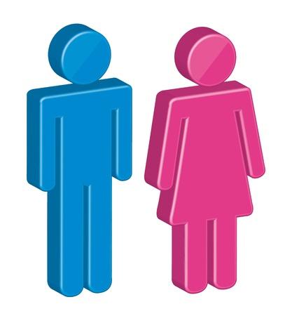 simbolo uomo donna: Uomini e donne 3d firmare su sfondo bianco. vettore