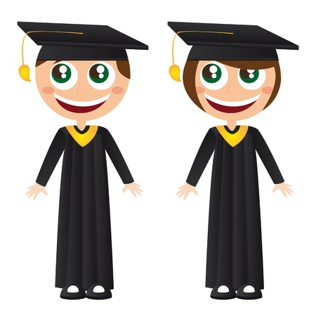 toga: girl and boy graduates with hat cartoons vector illustration Illustration