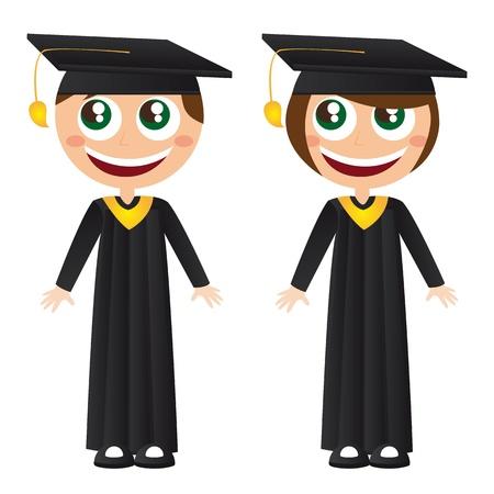toga: ni�as y ni�os graduados con ilustraci�n de dibujos animados sombrero vector