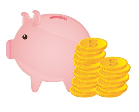piggy with gold coins over white background. vector illustration