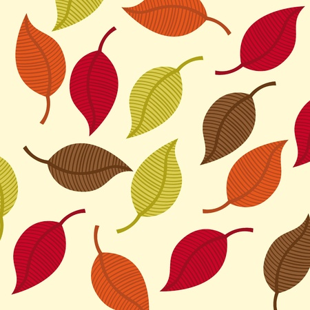 yelllow: leaves autumn over beige background. vector illustration