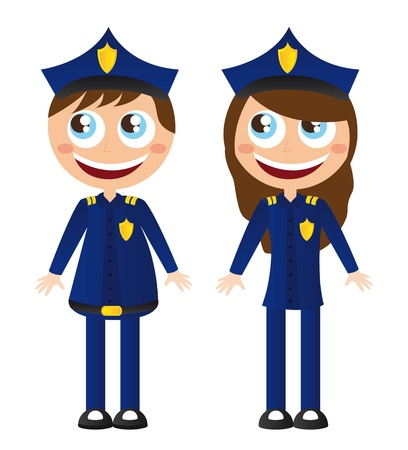 cartoon police officer: men and woman police with hat cartoons vector illustration