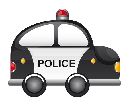 police cartoon: black and white police car with red light vector illustration