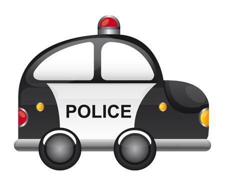 scheinwerfer: Schwarz-Wei�-Polizeiauto mit rotem Licht Vektor-Illustration