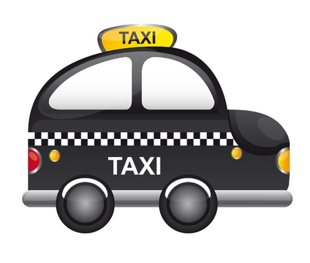 conveyance: black taxi cartoon with tranparency  vector illustration