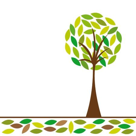 feuille arbre: arbre vert abstraite sur fond blanc. illustration vectorielle Illustration