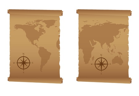 lost world: old maps with compass rose over white background. vector