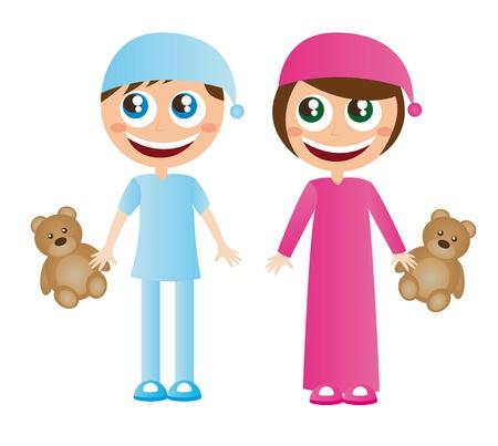pijama: Los ni�os en pijama con dibujos animados sombrero con osito de peluche vector