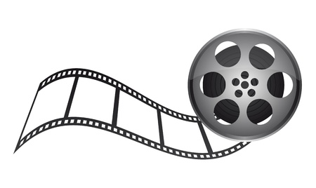 movie film: film tape with film stripe over white background. vector