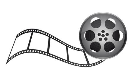 rollo fotogr�fico: pel�cula de la cinta con una franja de cine sobre fondo blanco. vector