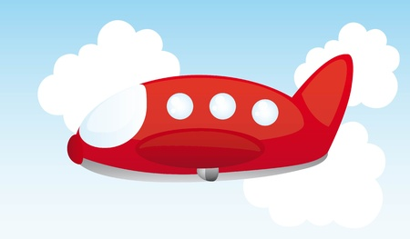 small plane: red air plane cartoon over sky. vector illustration
