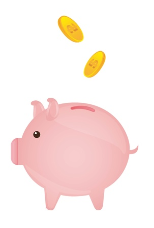 pink piggy with gold coins over white background. vector Stock Vector - 11549326