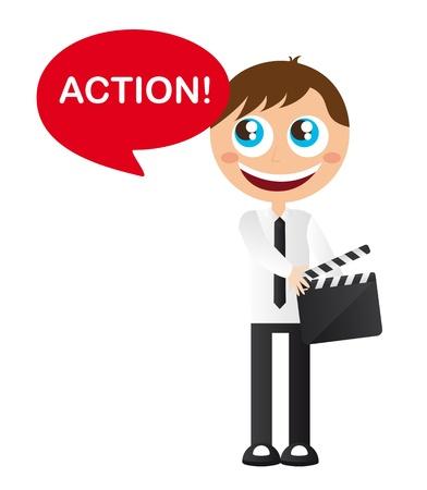 filmmaker: men cartoon with clappler board vector illustration