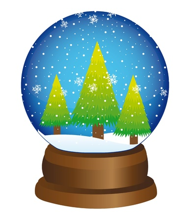 christmas snow: christmas snow globe with tree over white background. vector
