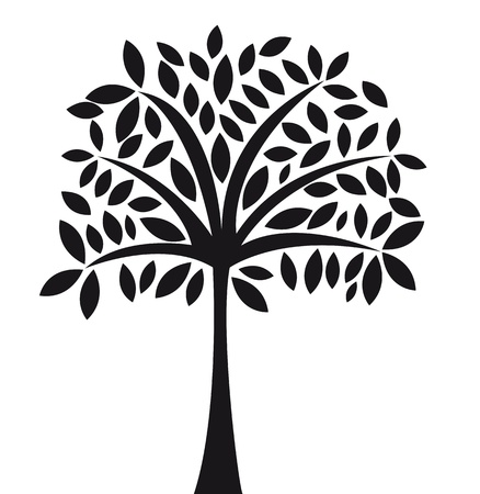 black abstract tree over white background vector illustration Vector